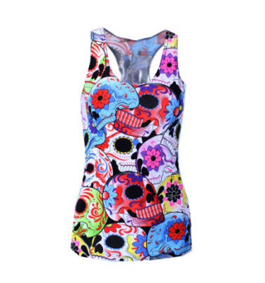 Pop Culture Printed Camisole Tank Top - Day of the Dead Sugar Skulls Collage - Alternative Measures -