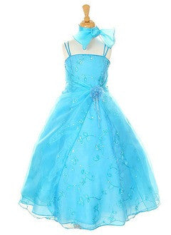 A-Line/Princess Ankle-Length Organza Satin Flower Girl Dress With Embroidered Flower(s) Sequins - Alternative Measures