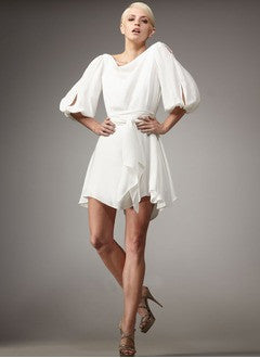 A-Line/Princess Cowl Neck Short/Mini Chiffon Homecoming Dress With Sash Bow(s) - Alternative Measures