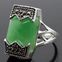 0x RARE! NATURAL MARCASITE GREEN JADE SILVER RING SIZE 7/8/9/10 - Alternative Measures