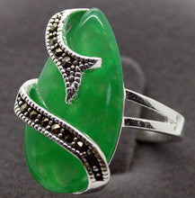 0x VINTAGE SILVER RING MARCASITE GREEN JADE/CHALCEDONY RING SZ 7/8/9/10 can choose - Alternative Measures