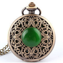 1 Piece Bronze Antique hollow imitation jade stone Necklace Quartz Pocket Watch P267 relogio de bolso - Alternative Measures