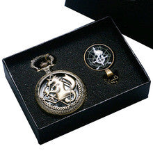 1 Set Fullmetal Alchemist Bronze Hollow Edward Pocket Watch With Snake Cross Theme Glass Dome Pendant Cosplay Best Gift - Alternative Measures