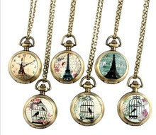 1 pc Painted Eiffel tower pocket watches cage birds Bronze Necklace old fashion Vintage woman watches Retro Style - Alternative Measures