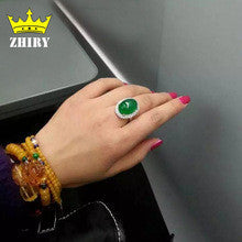 100% Natural green Chalcedony ring Genuine solid 925 sterling silver woman gem rings top quality stone fine jewelry - Alternative Measures