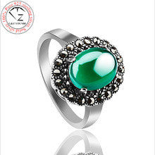 100% Real 925 Sterling Silver Ring Antique Natural Green Stone S925 Solid Thai Silver Rings for Women Jewelry YR01 - Alternative Measures