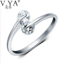 100% Real Genuine 925 Sterling Silver Ring CZ Crystal Cubic Zirconia S925 Solid Silver open size Rings Jewelry CR37 - Alternative Measures