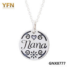 100% Solid 925 Sterling Silver Nana Necklace Fashion Jewelry Antique Silver Round Pendant Necklace For Women GNX8777 - Alternative Measures