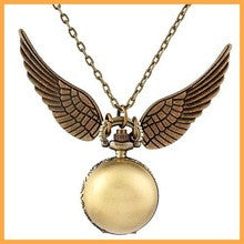 100pcs/sets 2016 new Harry Potter Golden Snitch fashion Pocket Watch Steampunk Quidditch Wings quartz necklace Watch free DHL - Alternative Measures