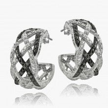 1/4 Ct Black & White Diamond Weave Half Hoop Earrings - Alternative Measures