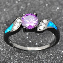10KT Black Gold Filled CZ Diamond Party Opal Jewelry Amethyst Round Zircon Wedding Rings For Women - Alternative Measures