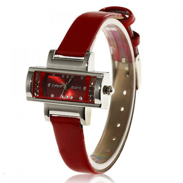 Red Leather Rotation Analog Watch - Alternative Measures -