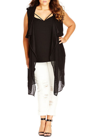 'Layered Chic' Long Vest with Overlay (Plus Size) - Alternative Measures