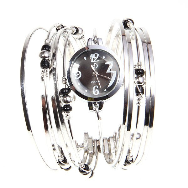 Silver Beaded Bangles Collectible Analog Watch - Alternative Measures -