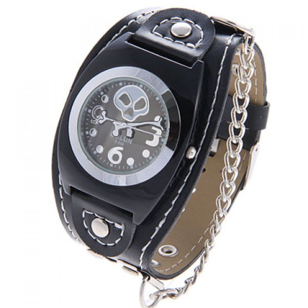 Leather Cuff Skull & Crossbones Collectible Punk Analog Watch - Alternative Measures -