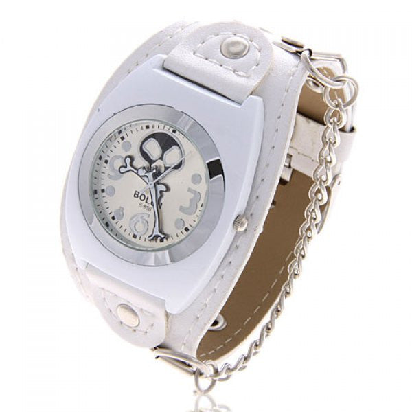 White Leather Toon Skull & Crossbones Collectible Punk Analog Watch - Alternative Measures -