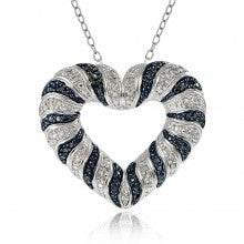 0.50ct TDW Black & White Diamond Wave Heart Necklace - Alternative Measures