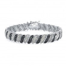 1.00ct TDW Black & White Diamond Wave Link Tennis Bracelet - Alternative Measures