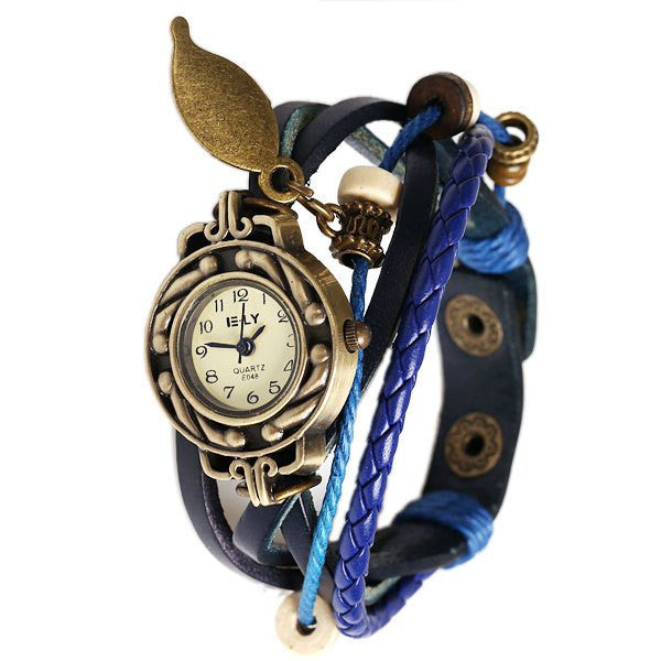 Blue Beaded & Braided Leather Analog Display Steampunk Women's Bracelet Style Wrap Watch - Alternative Measures