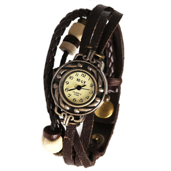 Brown Beaded & Braided Leather Analog Display Steampunk Women's Bracelet Style Wrap Watch - Alternative Measures