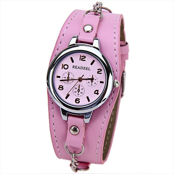 Pink Analog Punk Chain Women's Wrist Watch - Alternative Measures -  - 1