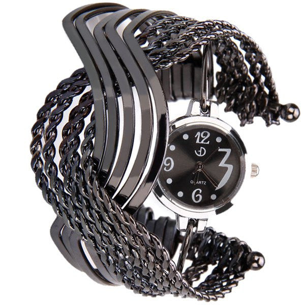 Gunmetal Black Crossed Bangles Collectible Analog Watch - Alternative Measures