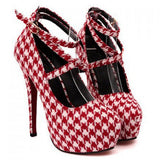 NEW ARRIVAL White & Red Strappy Houndstooth Stiletto Heel Shoes - Alternative Measures -  - 1