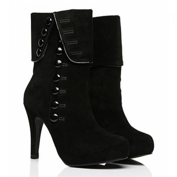 City Lady Stiletto Heel & Buttons Women's Ankle Boots - Black - Alternative Measures