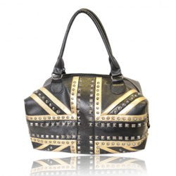 Trendy England Flag Pattern and Rivets Design Women's Shoulder Bag - Alternative Measures -