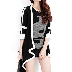 1/2 Sleeve Collarless Color Block Chiffon Splicing Women's Coat - Alternative Measures