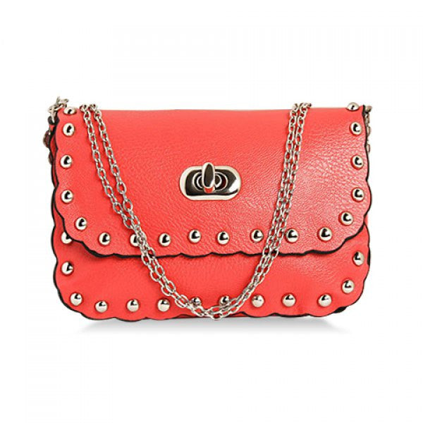 Riveter Cross-Body Bag w/ Rivets & Chain Strap - Red - Alternative Measures -  - 1