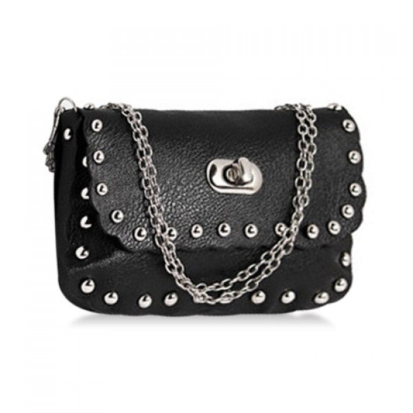 Riveter Cross-Body Bag w/ Rivets & Chain Strap - Black - Alternative Measures -  - 1