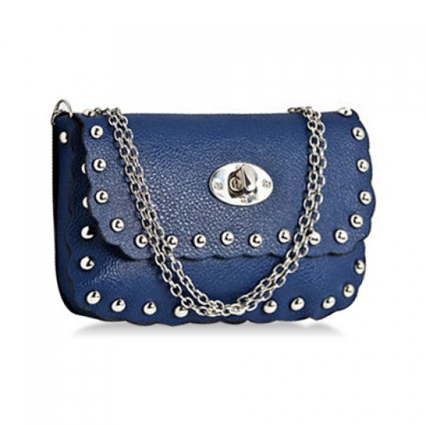 Riveter Cross-Body Bag w/ Rivets & Chain Strap - Blue - Alternative Measures -  - 1