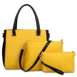 Graceful Color Block and Crocodile Print Design Women's Tote Bag - Alternative Measures
