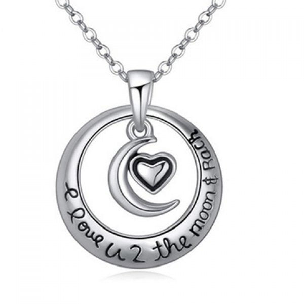 I Love You to the Moon and Back Crescent Moon Circle Pendant Necklace - Alternative Measures -