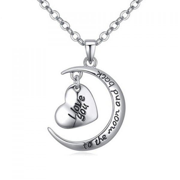 I Love You to the Moon and Back Crescent Moon Pendant Necklace - Alternative Measures -