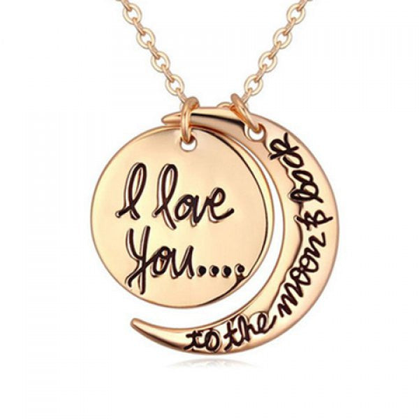 I Love You to the Moon and Back Crescent Moon Pendant Necklace - Gold Tone - Alternative Measures -