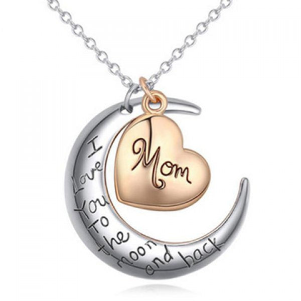 I Love You to the Moon and Back Mom Crescent Moon Pendant Necklace - Alternative Measures -