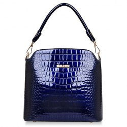 Patent Leather and Crocodile Print Design Zipper Women's Tote Bag - Alternative Measures -