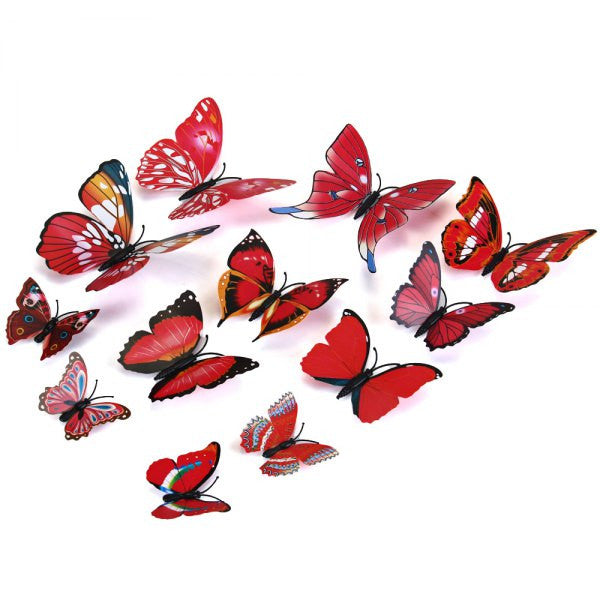 Decorative 3D Butterfly Wall Accents - Red - Alternative Measures