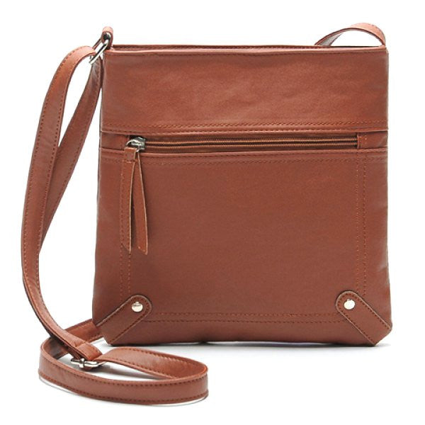 PU Leather Crossbody Bag/Shoulder Bag For Women - Medium Brown - Alternative Measures - Medium Brown - 1