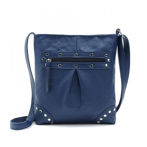Women's Solid Color Rivets Cross-Body Shoulder Bag - Blue - Alternative Measures -  - 1
