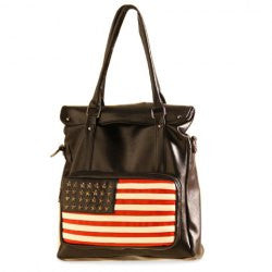 Punk Style American Flag and Rivets Design Women's Shoulder Bag - Alternative Measures -