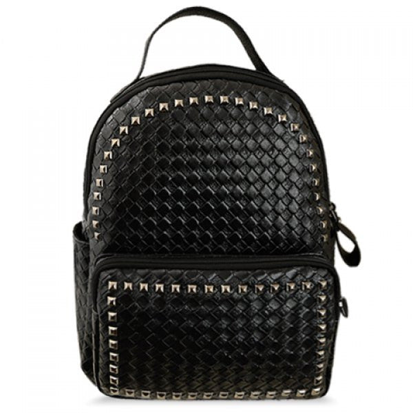 Women's Square Rivets Black Satchel Backpack - Alternative Measures -
