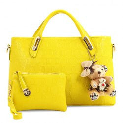 Sweet Style Bear Pendant and Solid Color Design Women's Tote Bag - Alternative Measures -