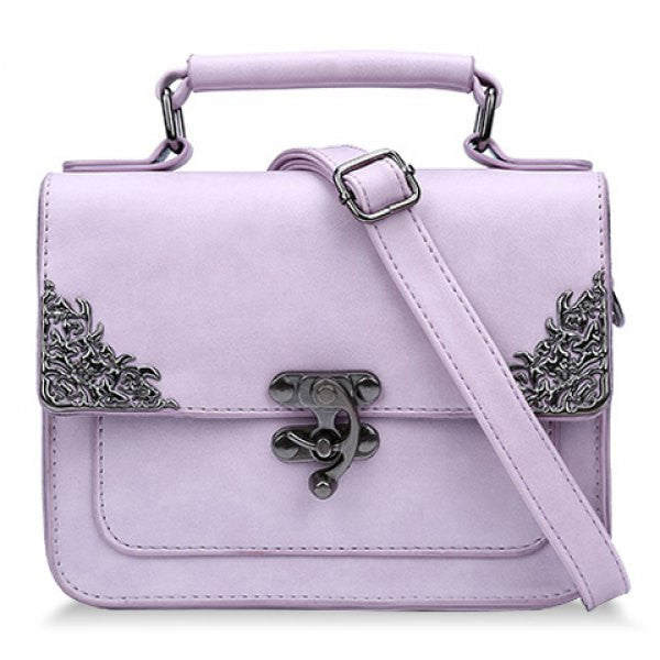 Vintage Style Handbag/Purse w/ Metallic Hasp Design - Pastel Purple - Alternative Measures -  - 1