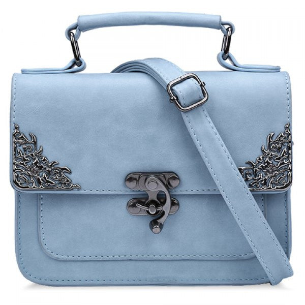 Vintage Style Handbag/Purse w/ Metallic Hasp Design - Pastel Blue - Alternative Measures -  - 1