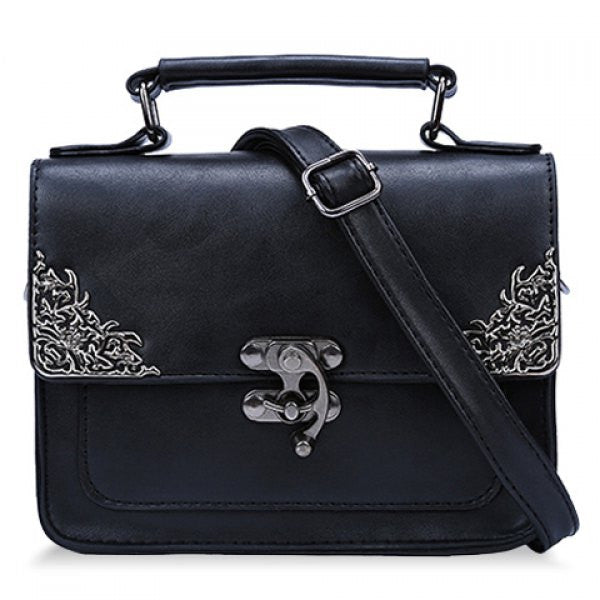Vintage Style Handbag/Purse w/ Metallic Hasp Design - Black - Alternative Measures -  - 1
