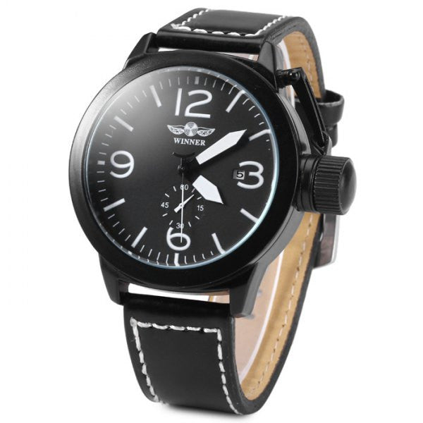 Black Analog Display Watch w/ White Hands & Sub Dial - Alternative Measures
