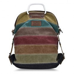 Casual Striped and Stitching Design Women's Canvas Bag - Alternative Measures